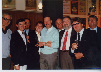 110 Gordon Kaye at his This is Your Life Event  Laurie Stead 3rd from his right, Brian Lawton extreme left